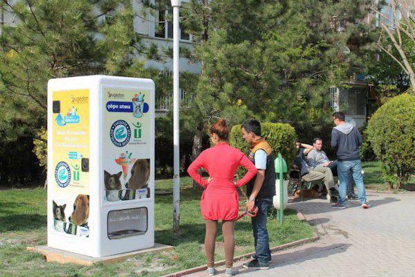 新型环保自动贩卖机,可为流浪猫狗提供食物