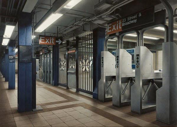 超现实画作:比相机拍摄更真实的纽约地铁