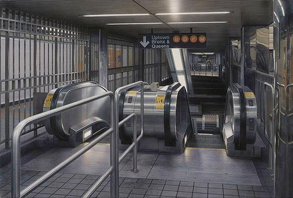 超现实画作:比相机拍摄更真实的纽约地铁--置顶表情