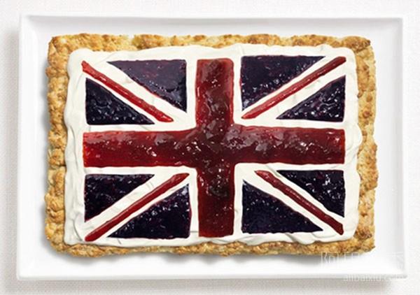 用食物组成的各国国旗 边学知识边享美味--置顶表情